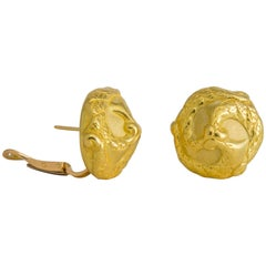 Elizabeth Gage Elegant Domed Gold Earrings