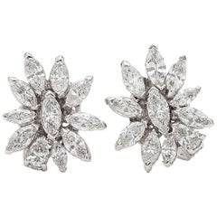 5.50 Carat Marquise Diamond and Platinum Earrings