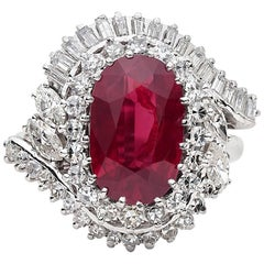 Phenomenal Unheated 3.87 Carat Ruby in Estate Platinum and Diamond Ring