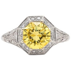 Exceptional GIA Fancy Intense Yellow Diamond in French Platinum Ring