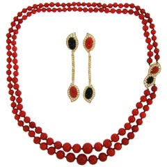 Bulgari Oxblood Mediterranean Coral Onyx Diamond Gold Necklace and Earrings Set