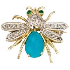 14 Karat Yellow Gold Diamonds, Emerald and Turquoise Bug Brooch