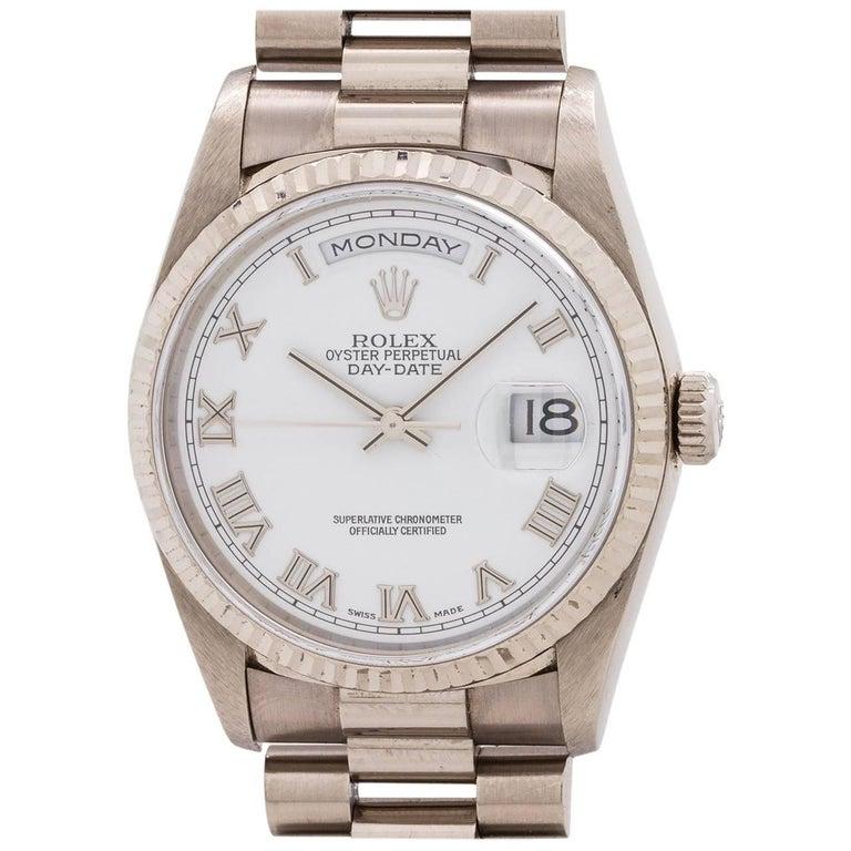 Rolex White Gold Day Date President Self Winding Wristwatch Ref 18239