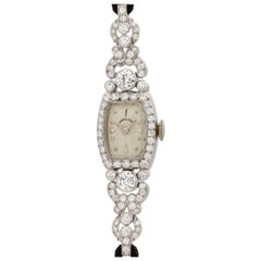 Lady Hamilton Platinum Diamond Manual Wind Wristwatch, circa 1950s