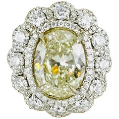 Yellow 5.21 Carat Oval Diamond, Contemporary, Total Weight 11.17 Carats, G-VS