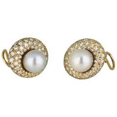 South Sea, 14 Karat Retro Diamond Pave Earrings 3.95 Carat, VS F-G