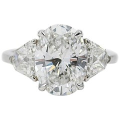 GIA Certified 3.00 Carat Oval Cut Diamond Engagement Ring