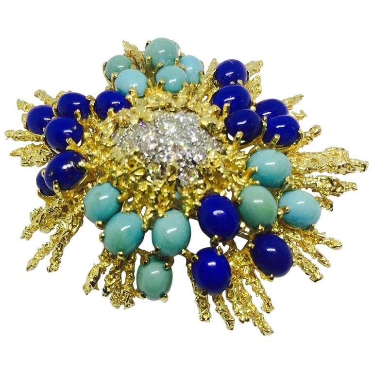 George Schuler 18 Karat Gold Lapis Turquoise Diamond Brooch Pin Necklace Pendant