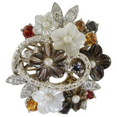Diamonds Multi-Color Sapphires Pearls Mother-of-Pearl Flowers Fashion Ring
