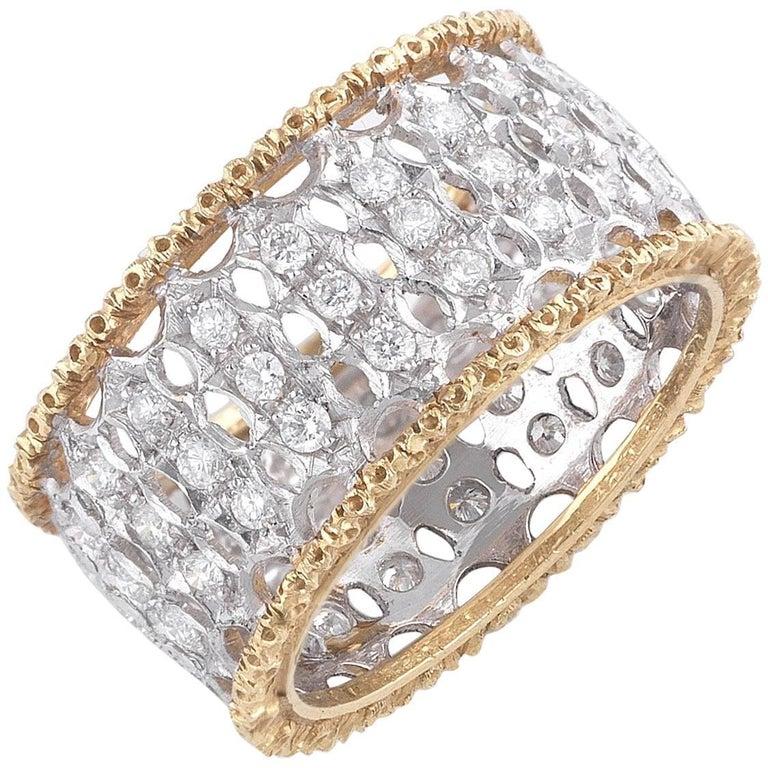 Buccellati Two-Tone Gold and Diamonds Band Ring