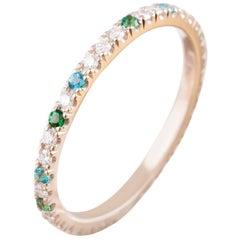 Karolin Wedding Ring 18 Karat Gold White Diamonds Alliance Blue and Green Topaz