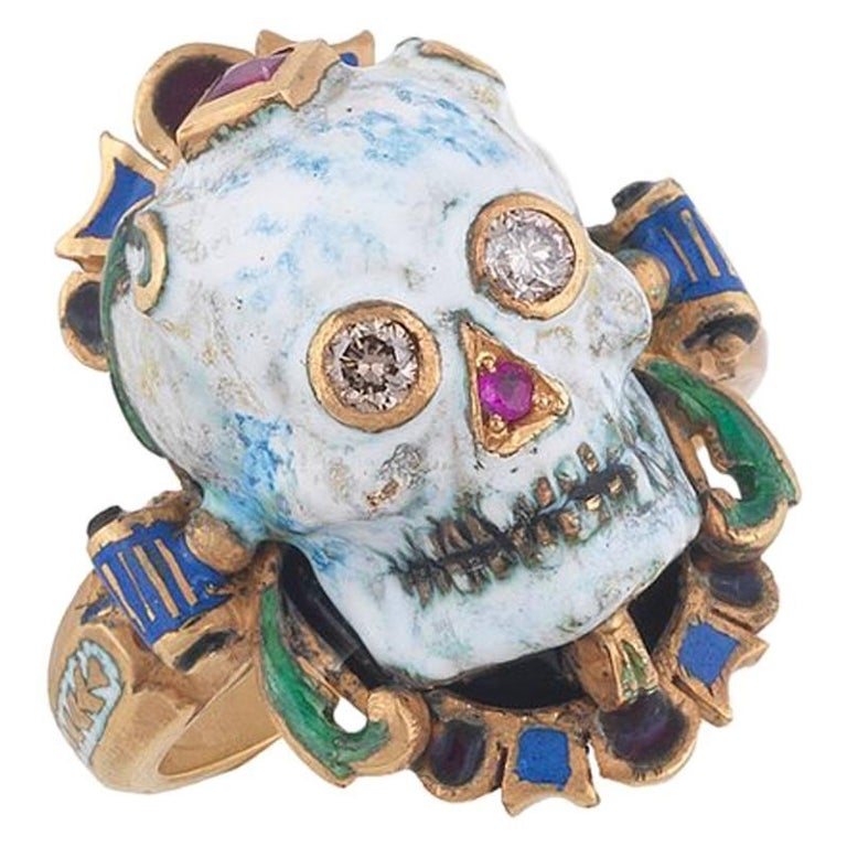 Attilio Codognato Enamel Diamond Ruby Gold Skull Memento Mori Ring For Sale