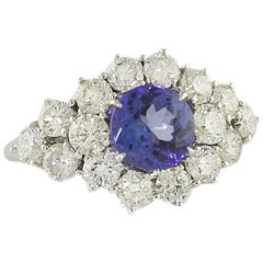 Tanzanite Diamonds Fashion White Ring