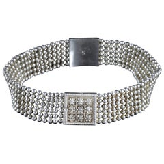 Antique Victorian Choker Necklace Silver Bracelets, circa 1880