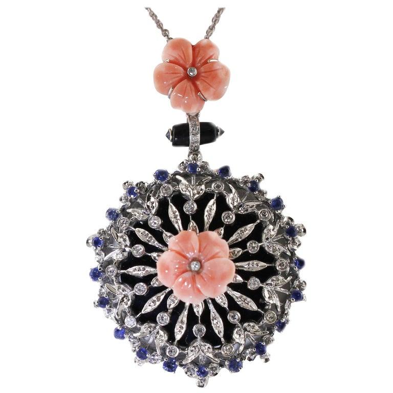 White Gold Sapphires Diamonds Onyx Coral Flower Pendant