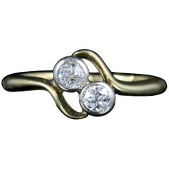 Antique Edwardian Diamond Twist Ring circa 1900 18 Carat Gold