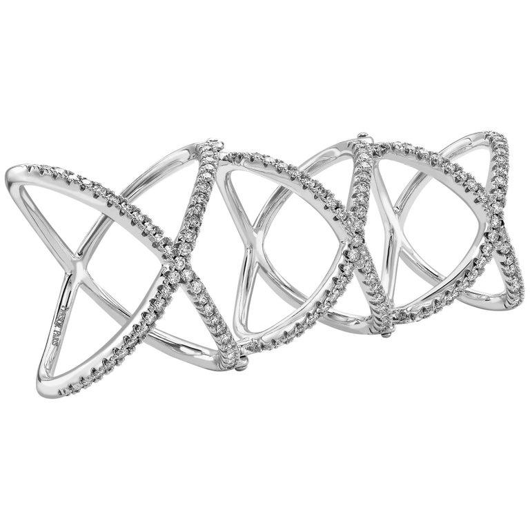 Triple X Kiss Ring 1.00 Carat Round Brilliant Diamond Ring 18 Karat White Gold