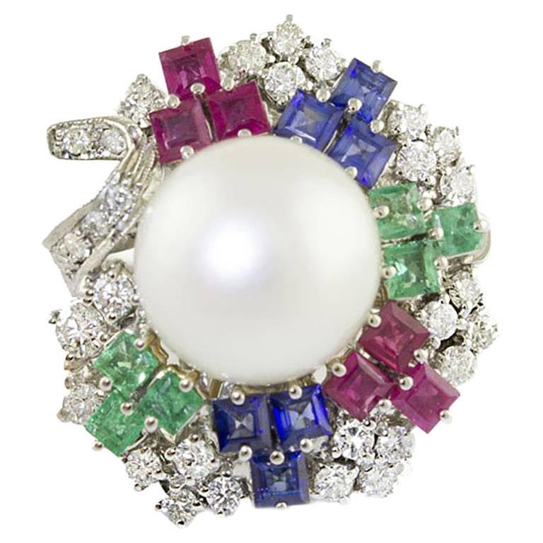 Australian Pearl Diamonds Rubies Sapphires Emeralds White Gold Cocktail Ring