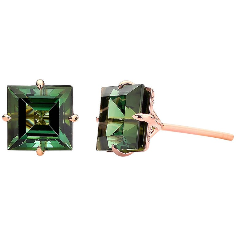 Paolo Costagli 18 Karat Rose Gold 6.84 Carat Green Tourmaline Studs For Sale