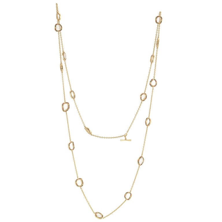 White Diamond Ruby Blue Yellow Sapphire Green Tsavorite Confetti Necklace