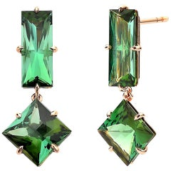 Paolo Costagli 18 Karat Rose Gold Green Tourmaline 11.75 Carat Earrings