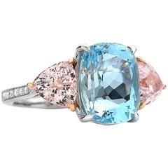 18 Karat Gold Aquamarine 6.15 Carat, Morganite 2.99 Carat, and Diamond Ring
