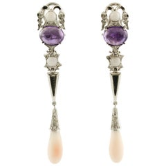 Drop Earrings in White Gold, Diamonds, Amethyst and Coral