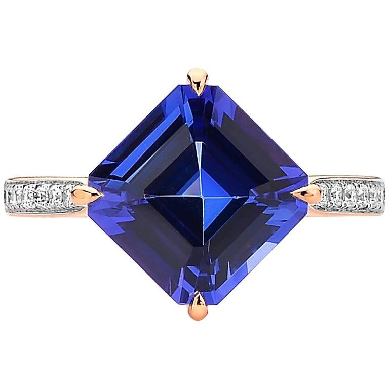 18 Karat Rose Gold Tanzanite 4.30 Carat and Diamond Ring