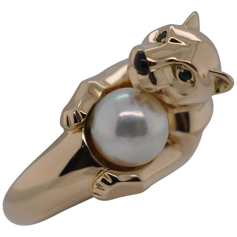 """Cartier Yellow Gold Black Onyx Pearl Garnet Gold """"Panthere"""" Ring"""