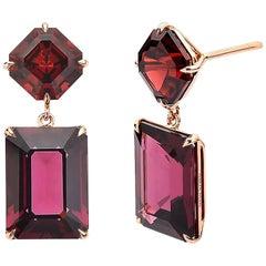18 Karat Rose Gold Rhodolite Garnet 14.88 Carat Earrings