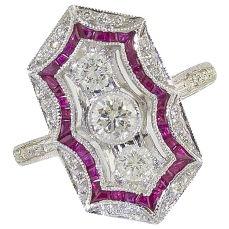 White Gold Diamonds Rubies Fashion Ring