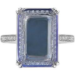 Paolo Costagli 18 Karat White Gold Tanzanite 4.72 Carat and Diamond Ring