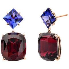 18 Karat Gold Rhodolite Garnet 41.24 Carat and Tanzanite 5.85 Carat Earrings