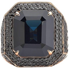 Paolo Costagli 18 Karat Rose Gold Black Spinel 12.38 Carat & Black Diamond Ring