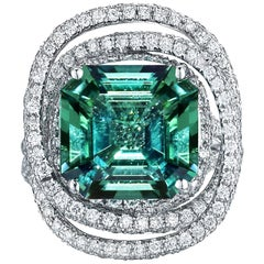 Paolo Costagli 18 Karat White Gold Mint Tourmaline 6.02 Carat and Diamond Ring