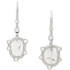 Manpriya B White Gold Slice and Rose Cut Diamonds Baby Diva Drop Earrings