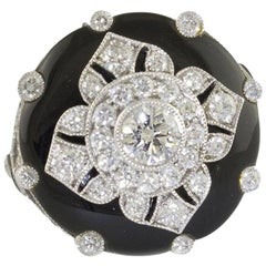 White Gold Onyx Fashion Diamonds F Color Flower Ring