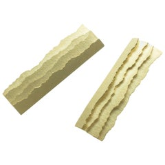 Annabel Eley Paper Textured Ripped Edge Yellow Gold Earrings
