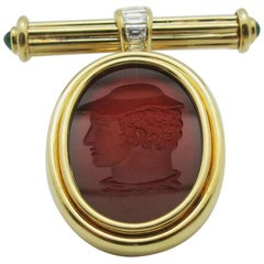 18 Karat Gold Intaglio Carnelian Bar Pin Brooch with Emeralds and Diamonds