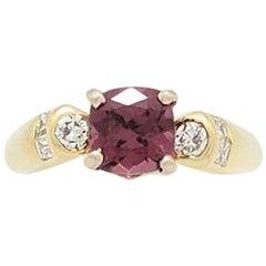 Ladies 18 Karat Yellow Gold 1.40 Carat Pink Tourmaline and Diamond Ring