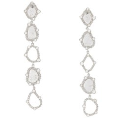 Manpriya B Slice Diamond and Rose-Cut Round Diamonds Diva Dangling Earrings