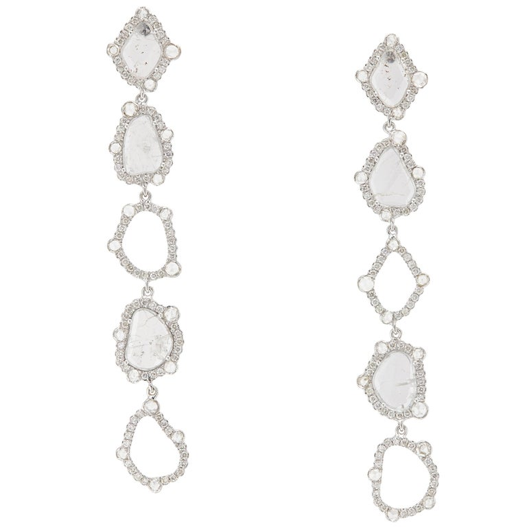 Manpriya B Slice Diamond and Rose-Cut Round Diamond Diva Dangling Earrings