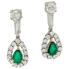 Ladies 14K Two-Tone 3.70ctw Emerald & Diamond Dangle/Drop Earrings SI1,G