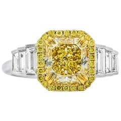 GIA Certified Fancy Yellow 2.47 ct and 0.67 ct  Diamond Ring