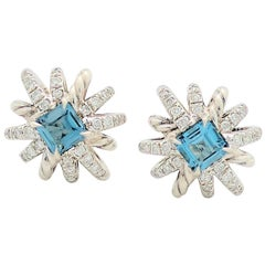 David Yurman Hampton Blue Topaz Diamond Starburst Earrings