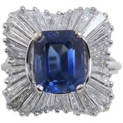 18kt White Gold 3 1/2 ct Sapphire and 4 ct Baguette Diamond Ballerina Style Ring