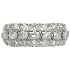 1930s Art Deco .25 Carat, Total Weight Diamond, 14K White Gold Wedding Band
