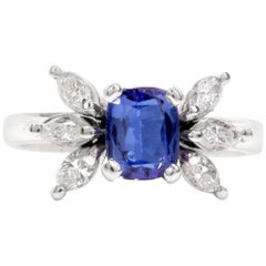1980s Tanzanite Marquise Diamond 18 Karat White Gold Ring