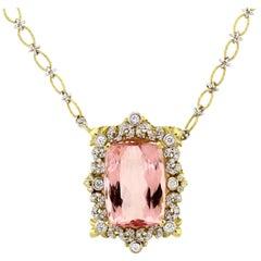 Stambolian Morganite Diamond Gold Pendant Necklace