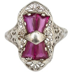 .75 Carat, Total Weight Ruby White Gold Engagement Ring